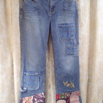 Size 14 Womens Upcycled Denim Blue Jeans Extra Pockets Quilt Patches Boho Hippie Eddie Bauer Flair Clothes redesigned repurposed Plus Size