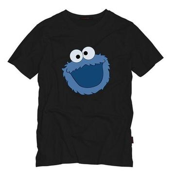 ESBON Sesame Street COOKIE MONSTER Men T Shirt Summer Casual Funny Top Tee Sesame Street Characters Design Printed Cotton T-Shirt