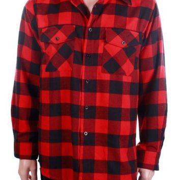 YAGO 2108 Long Sleeve Button Front Plaid Flannel Collar Shirt (Black/Red;2X)