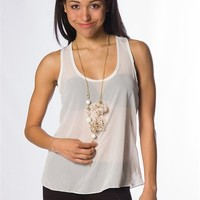 Polka Dot Tank Top with Necklace - White at Lucky 21 Lucky 21