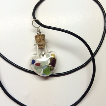 Heart glass vial filled with Sea Glass, sea Shells, and Sand from Ft Myers Beach Florida, sea glass jewelry, beach heart, mermaid tears