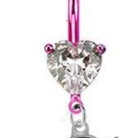 "Denver Broncos ""Love Collection"" PREMIUM Pink w/ Large Heart Gem Titanium Anodized Sexy Belly Button Navel Ring:Amazon:Jewelry"