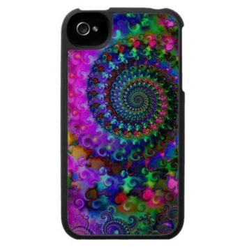 Hippy Rainbow Fractal Pattern Case For The iPhone 4 from Zazzle.com