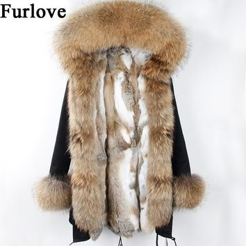 Womens Winter Jacket Women Real Rabbit Fur Coat Jackets Natural Raccoon Fur Collar Hooded Parkas Vintage Warm Thick Long Parka