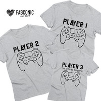 Player 1 Player 3 has entered the game, Mommy daddy baby shirts, Family Shirts, Mom dad baby shirts, Matching family, Screen-printed