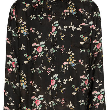 Haider Ackermann Black Floral Print Long Sleeve Shirt - Farfetch