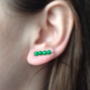 Green Boho Earrings, Ear Pin Earrings, Green Stud Earrings, Jade Earrings, Gemstone Earrings, Sterling Silver
