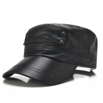 Men Sheepskin Genuine Leather Flat Top Hats With Breathable Sweatband Baseball Cap