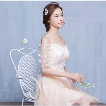 Off Shoulder Half Sleeves Flowers Short Pleated Party Bridesmaid Dress