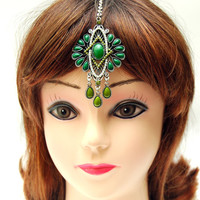 Tikka Headpiece, Crystal Headpiece, Maang Tikka Headpiece, Green Indian Bollywood Hair Chain