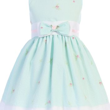 Mint Gingham Print Cotton Seersucker Girls Dress 3M-4T