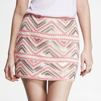PRINTED SEQUIN EMBELLISHED BLANKET SKIRT