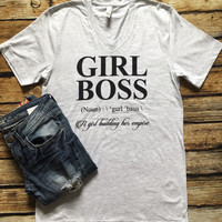 GIRL BOSS Tee; V-Neck White Fleck