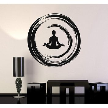 Vinyl Wall Decal Yoga Buddhist Meditation Enso Circle Bedroom Stickers Unique Gift (ig3474)