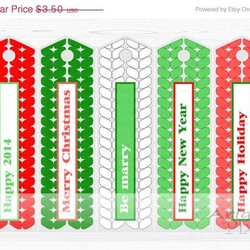 WEEKEND SALE 50% OFF Printable bookmark, red, green, Christmas, New Year 2014, long gift tags, reminder, holiday printables, Diy