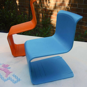 Barbie Doll Chairs, Modern Look Made of Plastic One Blue, One Orange - From 1970s Barbie Townhouse, Vintage Barbie Furniture