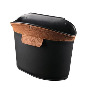 Car Garbage Trash Can Classic Leather Waste Basket Rubbish  Storage Bin For Home Office (Brown)