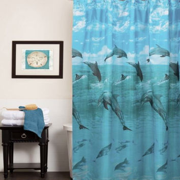 Dolphins Water Resistant Fabric Tropical Shower Curtain