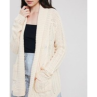 Open Front Cable Knit Sweater Cardigan - More Colors