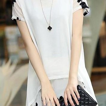 A| Chicloth Floral Casual Chiffon Round Neckline Short Sleeve Blouses