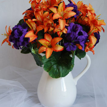 Silk Floral Arrangement- Artificial Orange Lilies, Orange and Purple FlowerArrangement, Faux Flower Arrangement, Home Decor Flowers,
