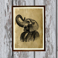 Elephant poster Animal decoration African print Antique illustration 8.3 x 11.7 inches