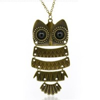 Women's Vintage Bronze Owl Pendant Long Chain Necklace