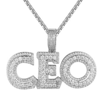 Men's 3D CEO Double Layer Iced Out White Tone Hustler Pendant
