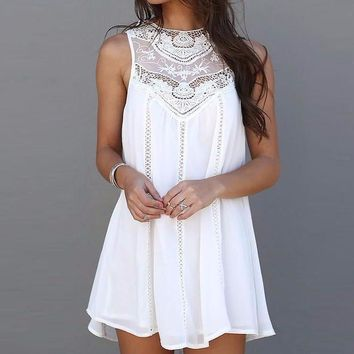 Women's Elegant White Lace Sleeveless Shift Dress