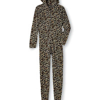 Leopard Women's One-Piece Footie Pajamas