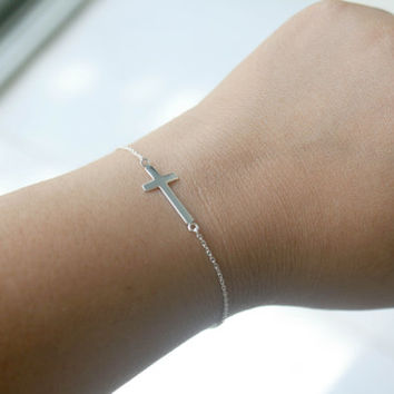 925 Sterling Silver Sideways Cross Bracelet Celebrity Style Br