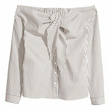 Off-the-shoulder blouse - White/Striped - Ladies | H&M GB