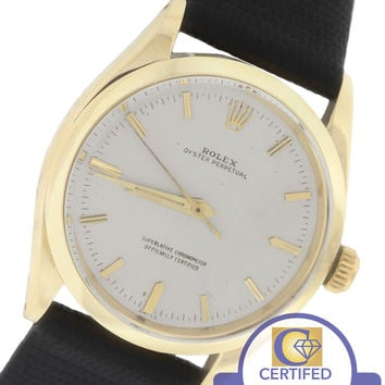 Vintage Rolex Oyster Perpetual Silver 34mm 14K Yellow Gold Leather Watch 6564