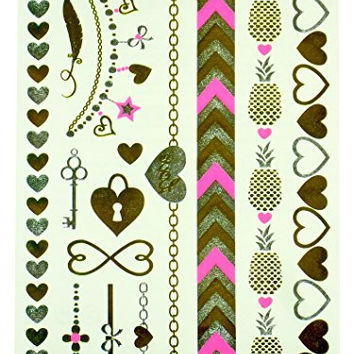 Temporary Metallic Tattoos by Hot Focus - Jewelry Styles - Hearts, Pineapples, Chain Links, Key, Feather