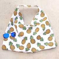 Summer Pineapple Canvas Tote Bag