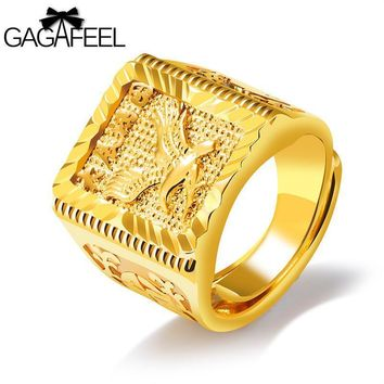 GAGAFEEL Eagle Wings Ring Free Size Men Jewelry Gold Color Open Rings Copper Luxury Domineering