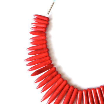 Red Spiky Necklace - Red Stone Necklace