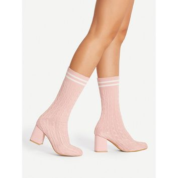 Contrast Striped Knit Sock Boots