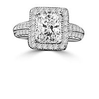 2 CT. Intensely Radiant Emerald Shape Diamond Veneer Cubic Zirconia with Halo Micro-pave Settings Sterling silver Vintage Style Ring. 635R12825
