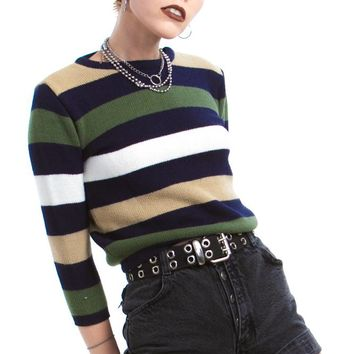 Vintage Y2K Fade Into the Background Striped Sweater - One Size Fits Many