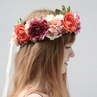 Pink and Orange Flower Crown - Large Flower Crown, Floral Tiara, Floral Crown, Bridal Headpiece, Bridal Flower Crown, Bohemian Wedding Crown
