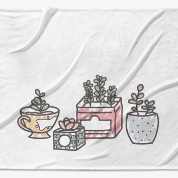 sweet succulents - printed throw blanket