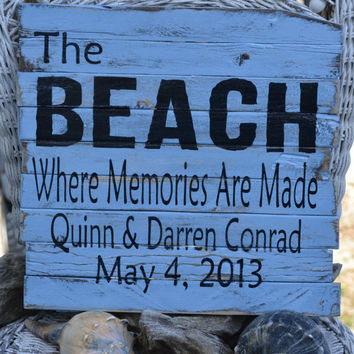 The Beach Where Memories Are Made, Rustic Beach Decor Wooden Sign, Assembled w/ Reclaimed Pieces of Weathered Dune Fencing, Distressed