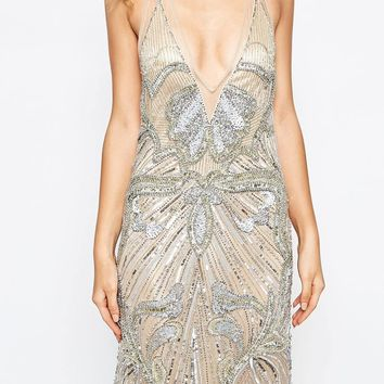 A Star Is Born Luxe Embellished Maxi Dress With Red Carpet Train at asos.com