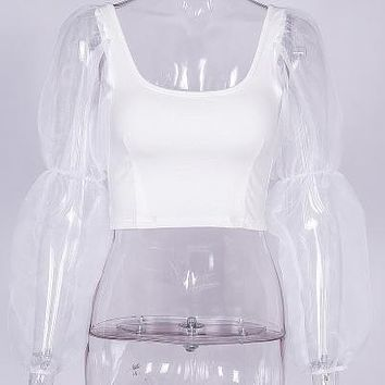 Women Spring Mesh Spliced Blouses Puff Sleeve Tops And Blouses White Black Sexy Vintage
