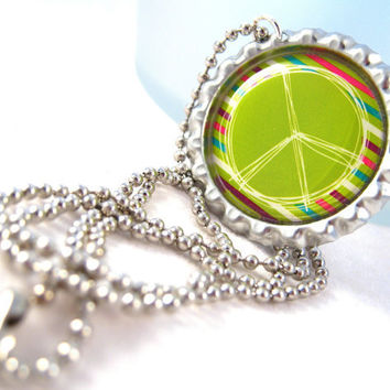 Peace Sign Bottle Cap Necklace Picture Image Pendant Fashion Jewelry