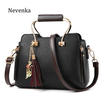 Women Leather High Quality Pleated Tassel Shoulder Bag Casual Tote Hadnbag