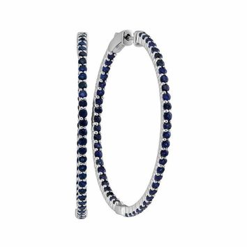 14kt White Gold Women's Round Blue Sapphire Hoop Earrings 3-3-4 Cttw - FREE Shipping (USA/CAN)