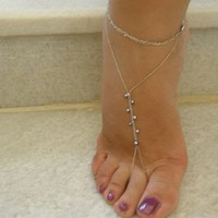 SLAVE Anklets Barefood Sandals With Evil Eyes - Gold filled -White
