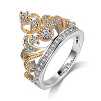 2017 New Silver Gold Crown Rings for Women CZ Zircon Wedding Promise Rings Fashion Jewelry